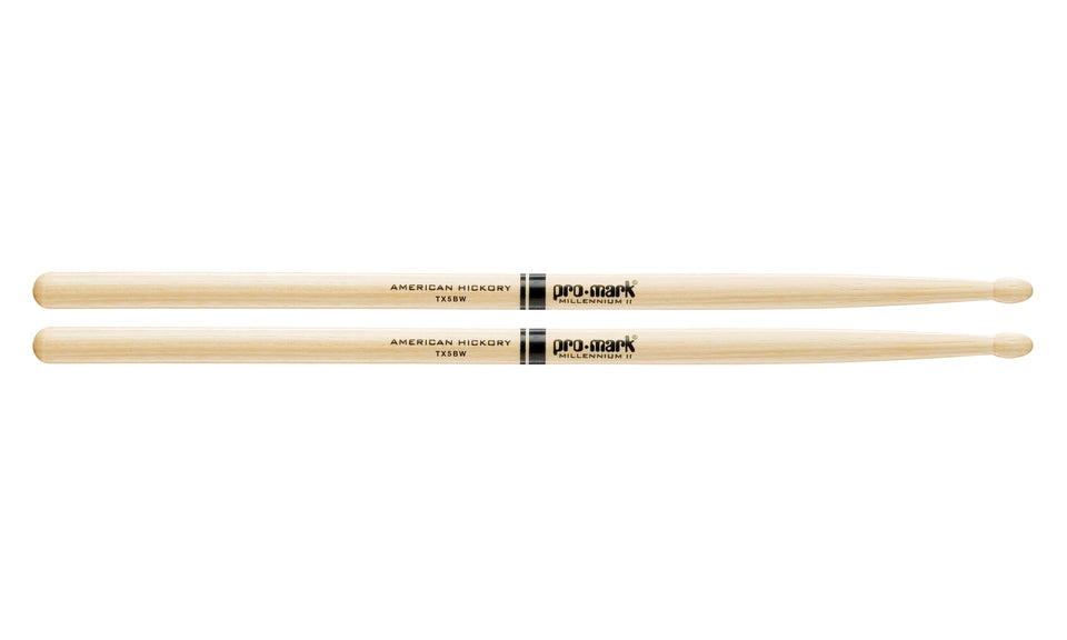 Promark TX5BW Hickory 5B Wood Tip Drumsticks