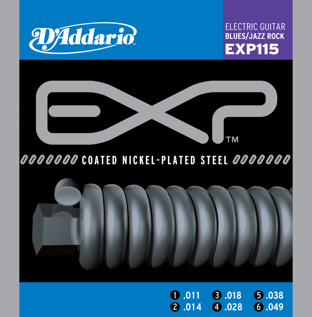 D'addario  EXP115 Coated Electric Guitar Strings, Medium/Blues/Jazz, 18203