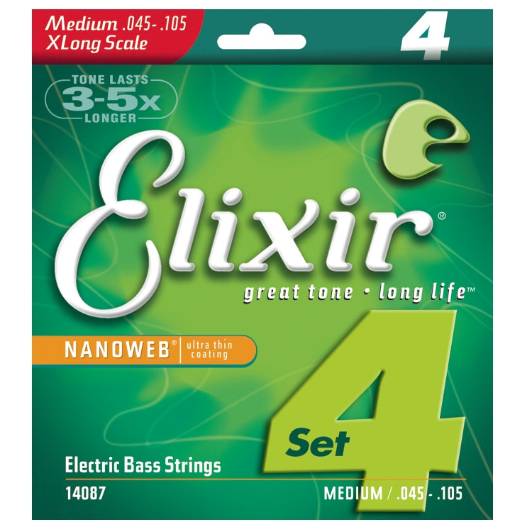 Elixir 14087 Nanoweb Coated 4 String Electric Bass Strings, Medium Extra Long Scale (40 -95)