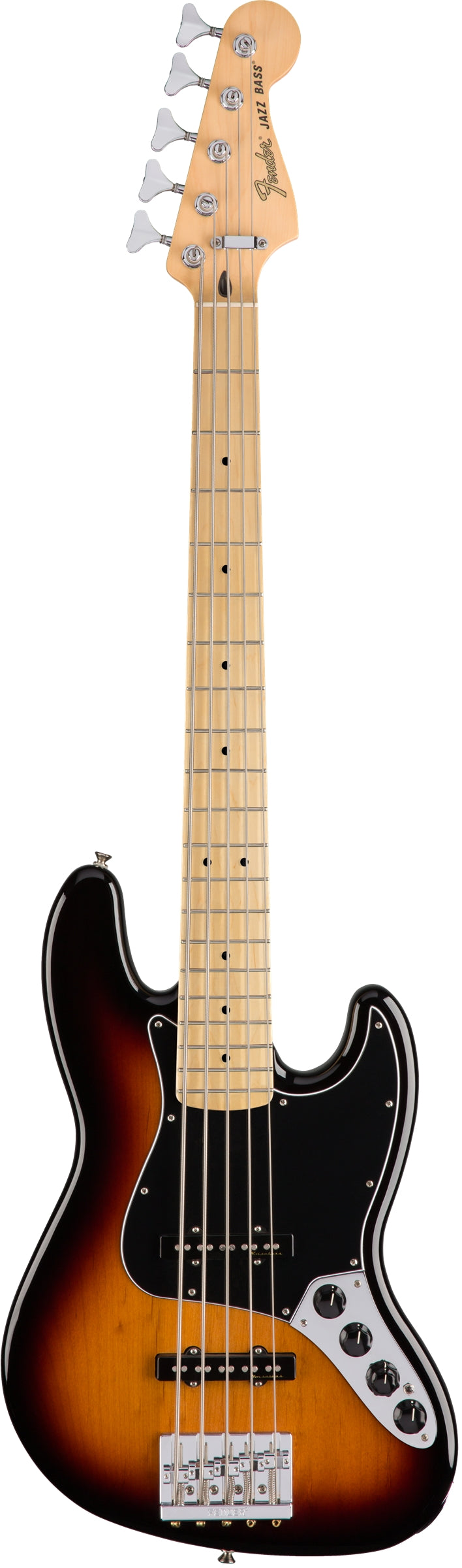 Fender Deluxe Active Jazz Bass V 5 String Electric Bass, Maple Fingerboard - 3 Color Sunburst