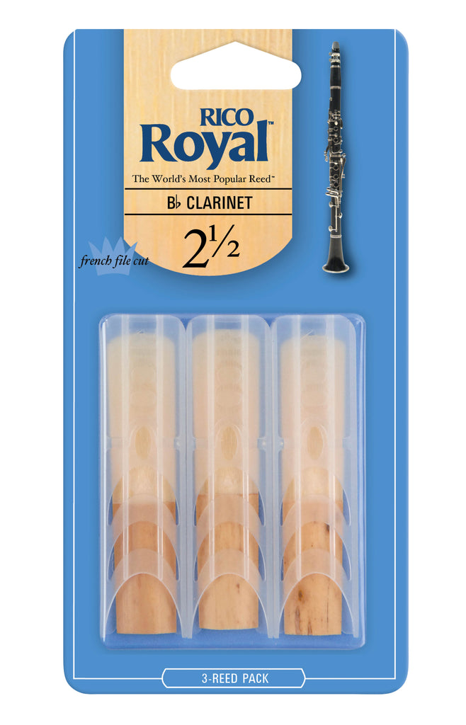 D'Addario RCB0325 Rico Royal B-Flat Clarinet Reeds, Strength 2.5, 3-Pack