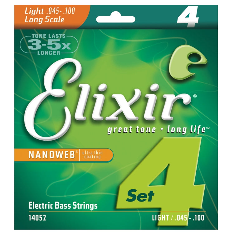 Elixir 14052 Nanoweb Coated 4 String Electric Bass Strings, Light (45 - 100)