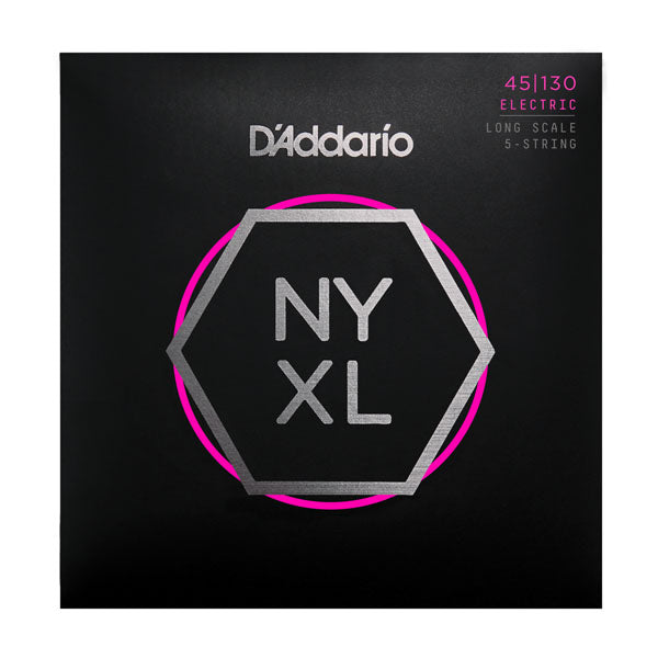 D'Addario NYXL45130 Long Scale, Electric Bass Strings, Regular Light 5-String, 45-130