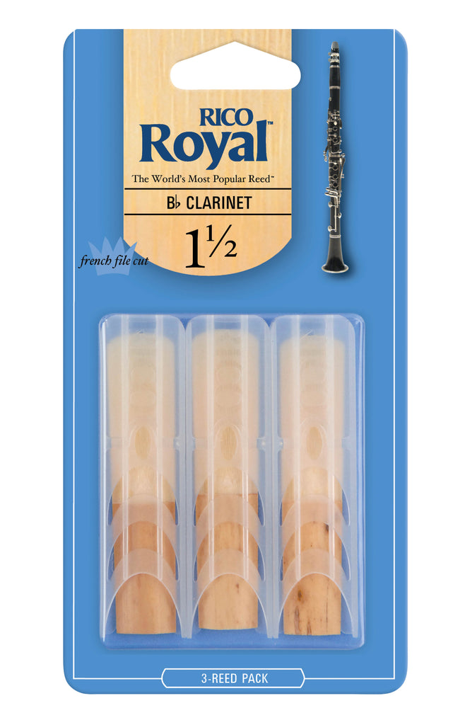 D'Addario RCB0315 Rico Royal B-Flat Clarinet Reeds, Strength 1.5, 3-Pack