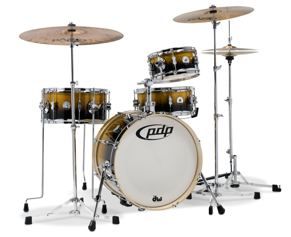 PDP PDDJ1804YBPK Daru Jones New Yorker 4-Piece Drum Kit W/ Hardware - Yellow-Black Sparkle
