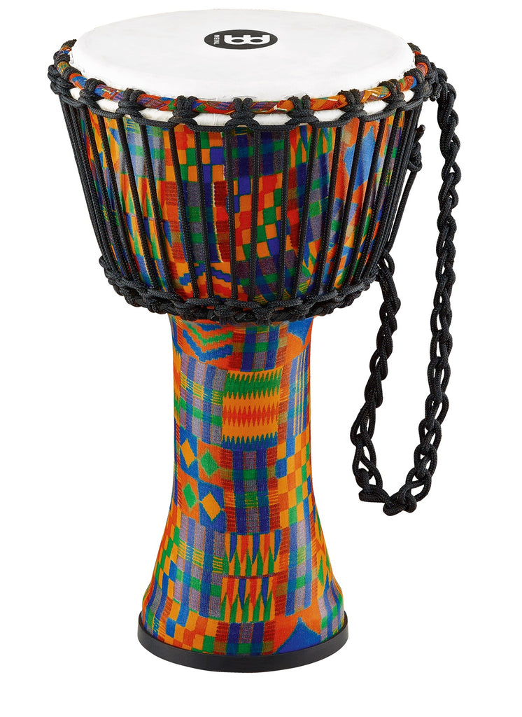 "Meinl 8"" Rope Tuned Travel Djembe Kenyan Quilt Synthetic Head"
