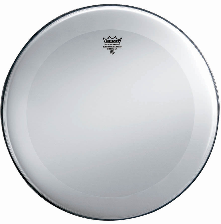 "Remo 22"" Smooth White Powerstroke 3 Bass Drum Head, No Stripe"