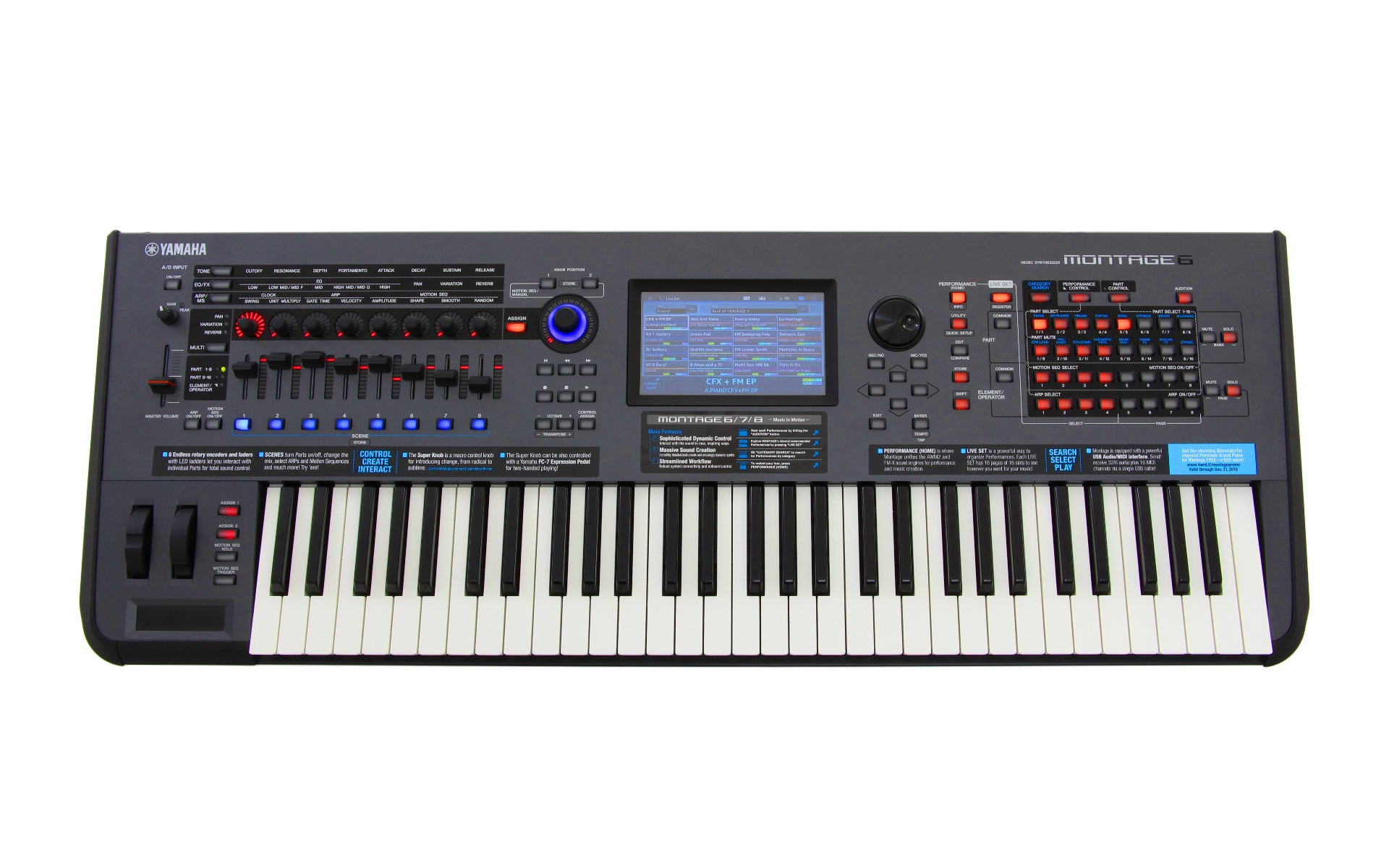 yamaha montage 6 61 key synthesizer chuck levin 39 s. Black Bedroom Furniture Sets. Home Design Ideas