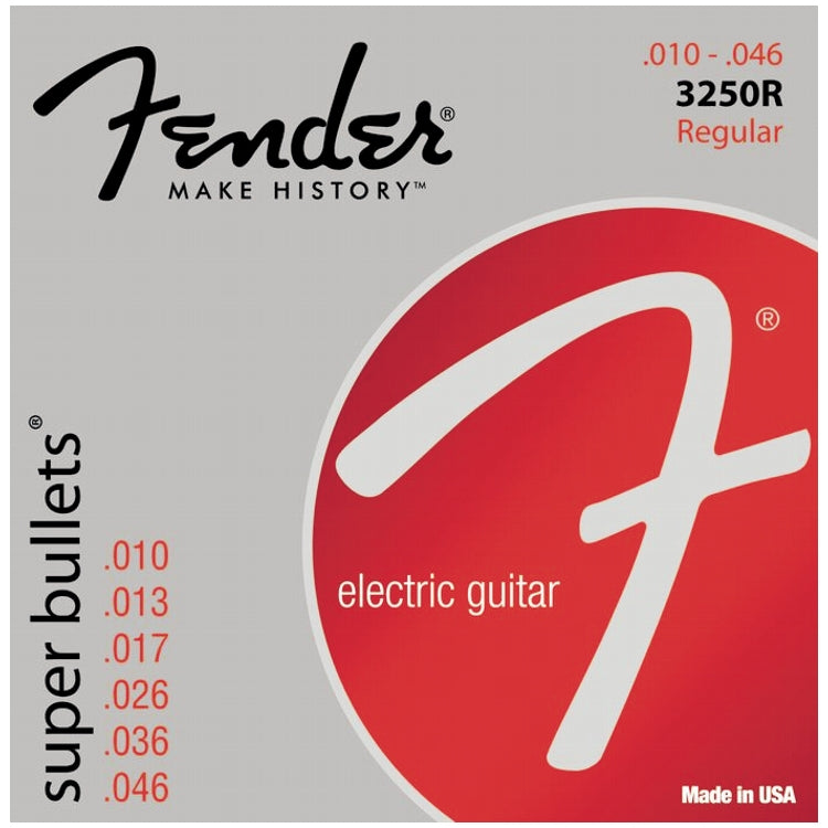 Fender 733250406 3250R Super Bullets Nickel Plated Electric Guitar Strings, Regular (10 - 46)