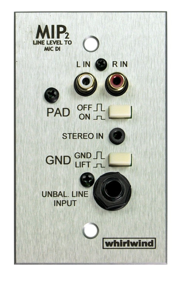 Whirlwind MIP2S Media Input Wallplate - Stainless Steel