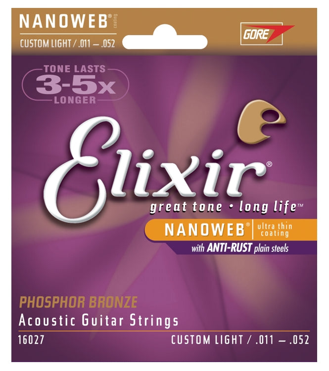 Elixir 16027 Phosphor Bronze Nanoweb Coated Acoustic Guitar Strings, Custom Light (11 - 52)