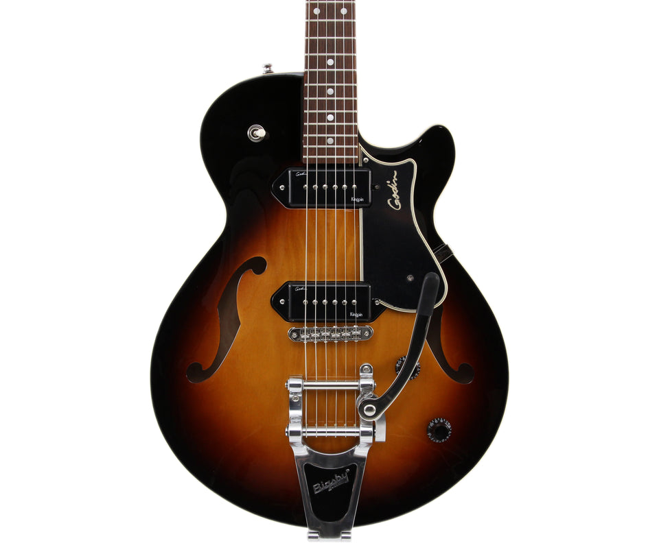 Godin Montreal Premiere Sunburst HG, P90s, Bigsby Tremolo Semi-Hollow Body Electric Guitar