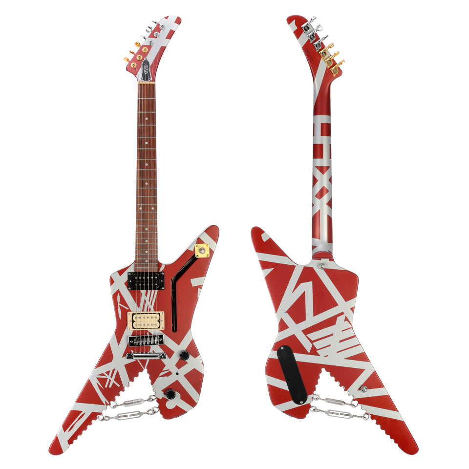 EVH Striped Series Shark Electric Guitar, Pao Ferro Fingerboard - Burgundy With Silver Stripes