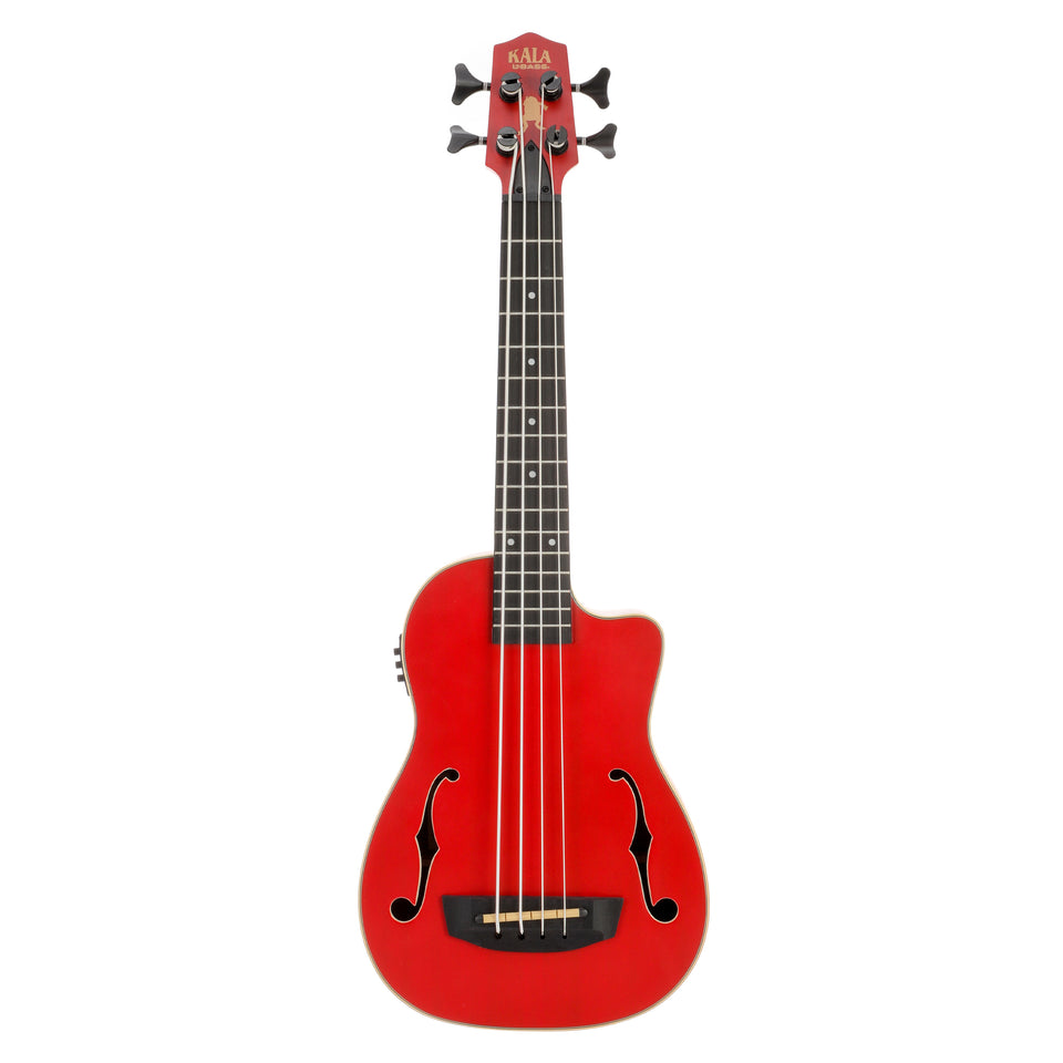 Kala UBASS-JYMN-RD-FS Journeyman Acoustic Electric U-Bass W/ F Holes - Matte Red