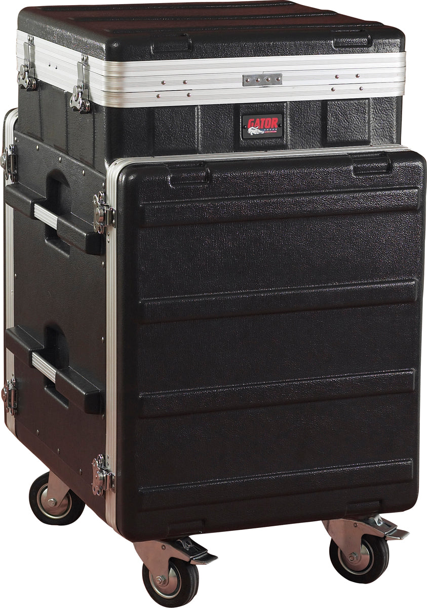Gator Cases GRC-10X12 PU ATA Molded PE Pop-Up Console Rack With Casters 10U Top x 12U Bottom