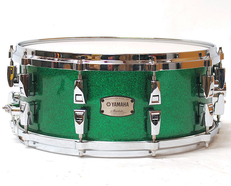 "Yamaha 14"" x 6"" Absolute Hybrid Maple Snare Drum - Jade Green Sparkle"