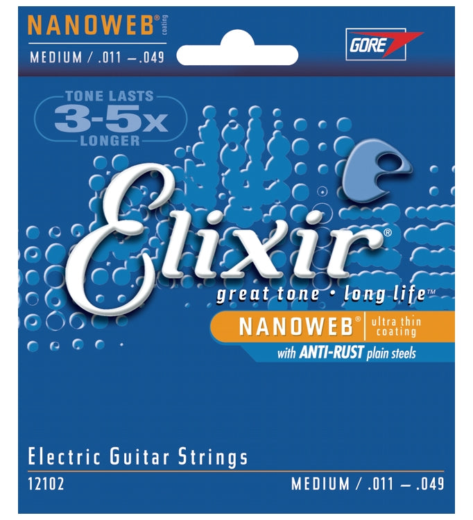 Elixir 12102 Nanoweb Coated Electric Guitar Strings With Anti-Rust, Medium (11 - 49)