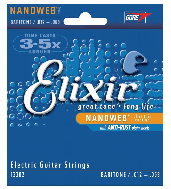 Elixir 12302 Nanoweb Coated Electric Guitar Strings With Anti-Rust, Baritone (12 - 68)