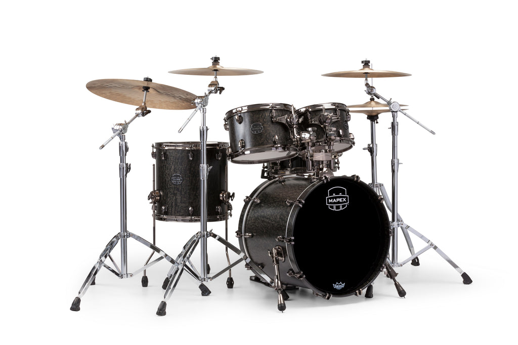 Mapex Saturn V MH Exotic Jazz 4 Piece Drum Set Shell Pack - Flat Black Maple Burl