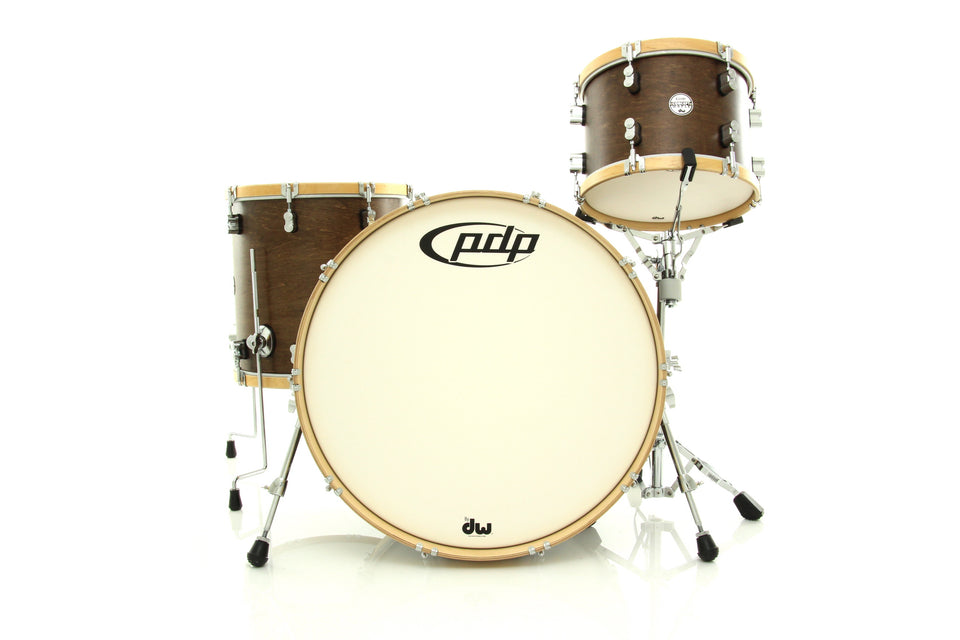 "PDP Concept Maple Classic 3-Piece Shell Pack Tobacco With Natural Wood Hoops 24"" Kick"