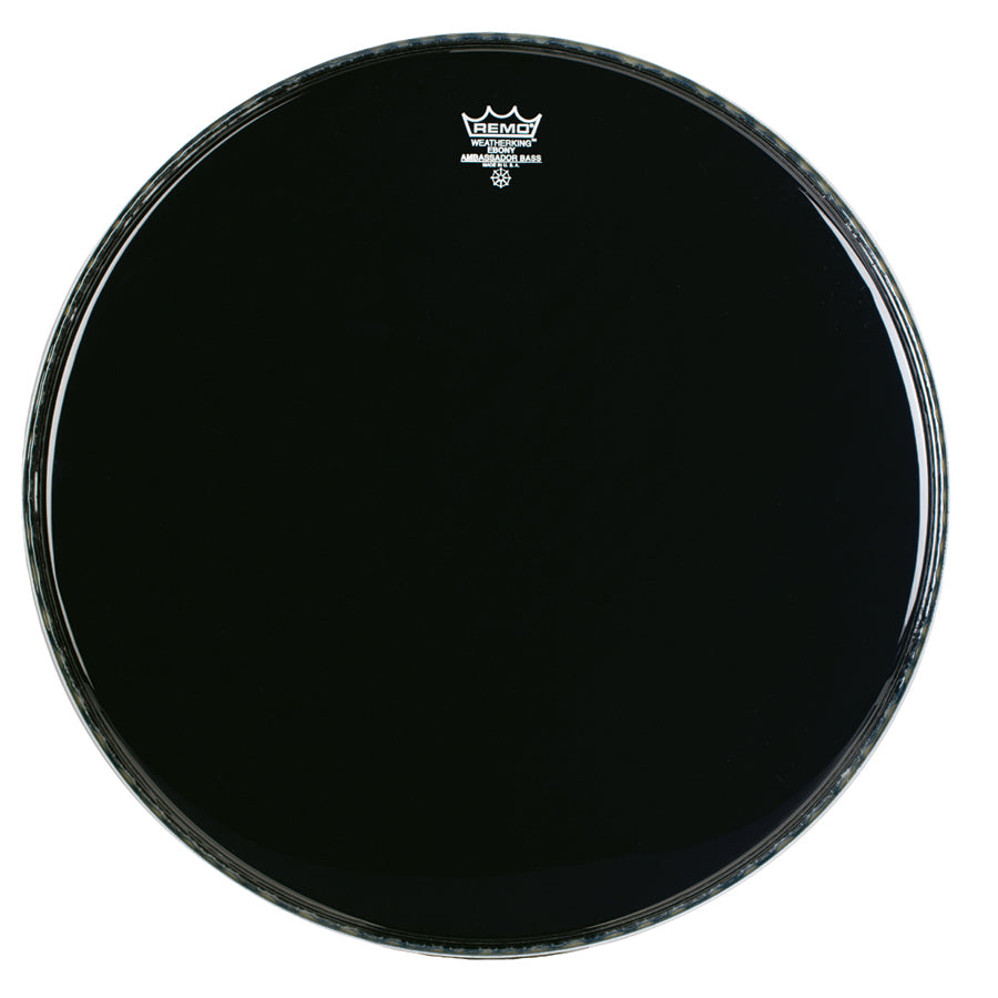 "Remo 16"" Ebony Crimplock Ambassador Marching Bass Drum Head"