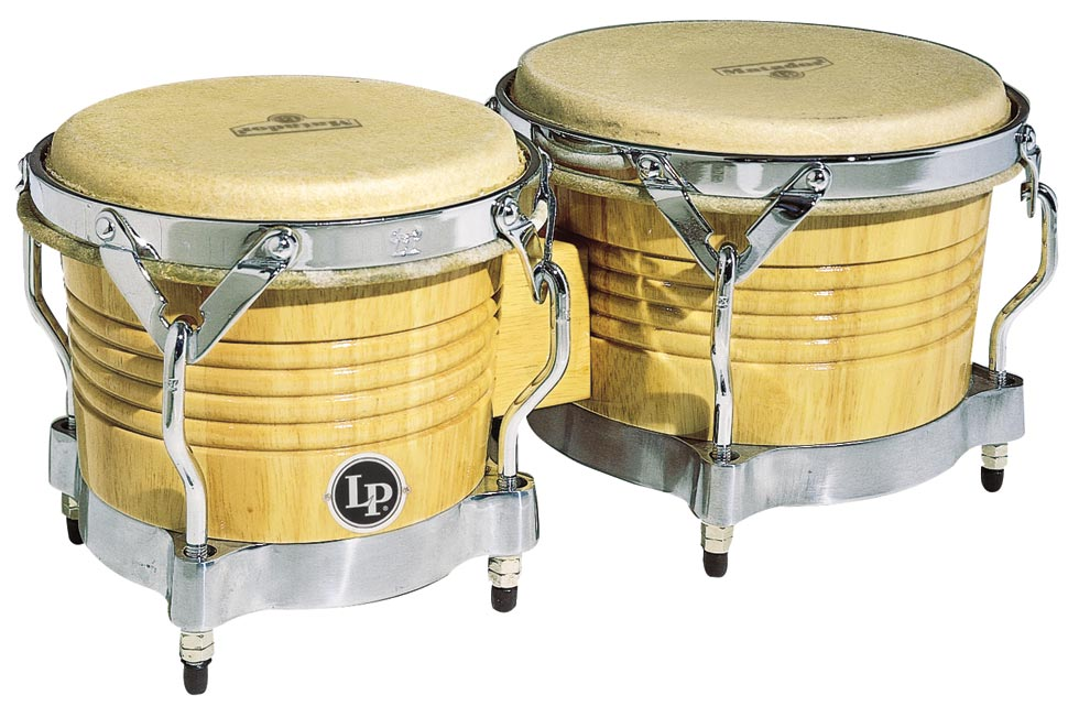 LP M201-AWC Matador Wood Bongos, Natural/Chrome