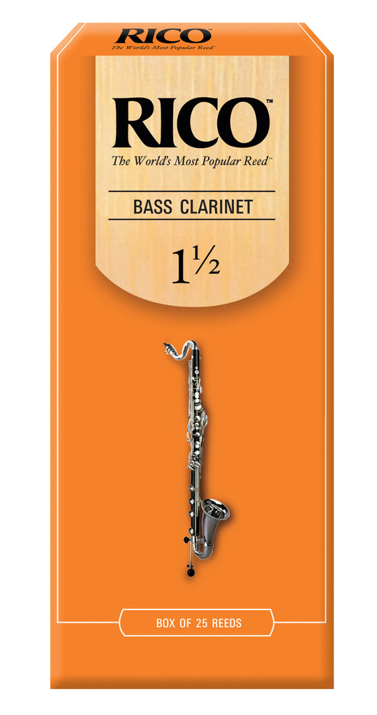 D'Addario REA2515 Rico Bass Clarinet Reeds, Strength 1.5, 25-Pack