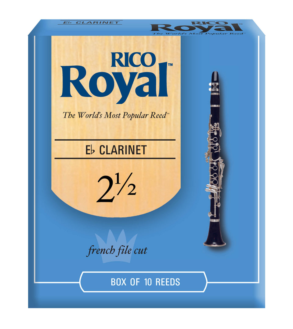 Ddaddario Woodwinds RBB1025 Rico Royal E-Flat Clarinet Reeds, Strength 2.5, 10-pack