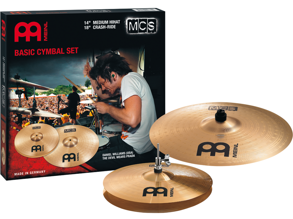 "Meinl MCS Set: 14"" Medium Hi-Hat Cymbals, 18"" Crash Ride Cymbal"