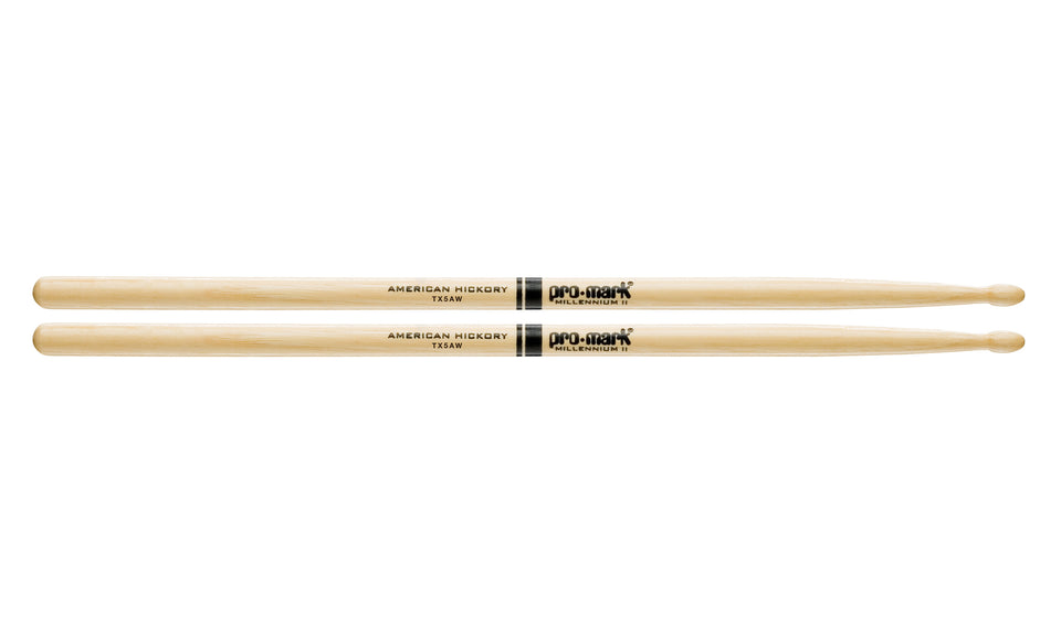 Promark TX5AW Hickory 5A Wood Tip Drumsticks