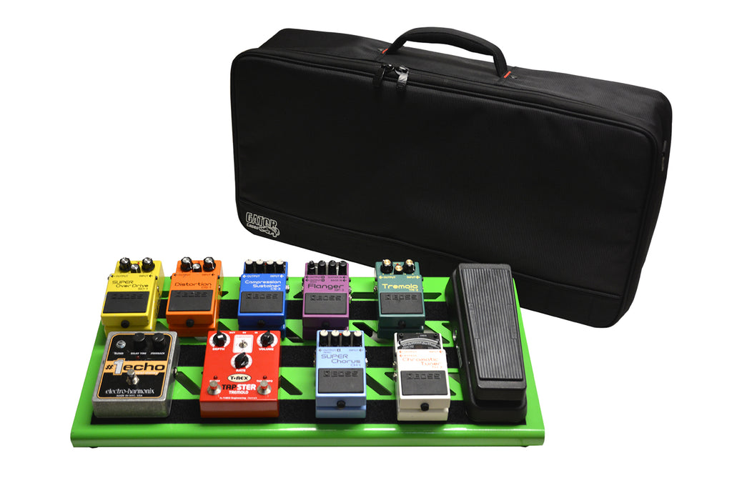 Gator GPB-BAK-GR Screamer Green Large Aluminum Pedal Board With Gator Carry Bag And Bottom Mounting Power Supply Bracket