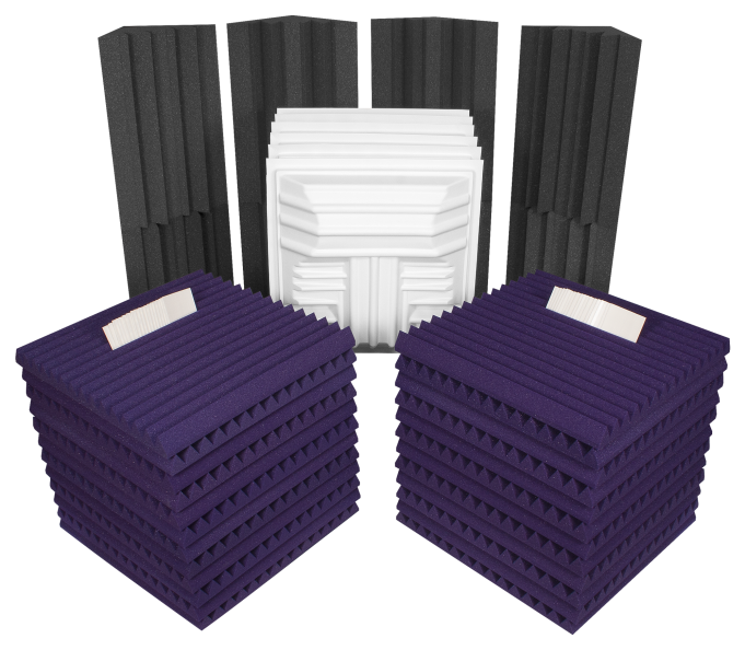 AURALEX ACOUSTICS ROOMDLXPLUSPUR Deluxe Plus Roominator Acoustic Treatment Kit - Purple