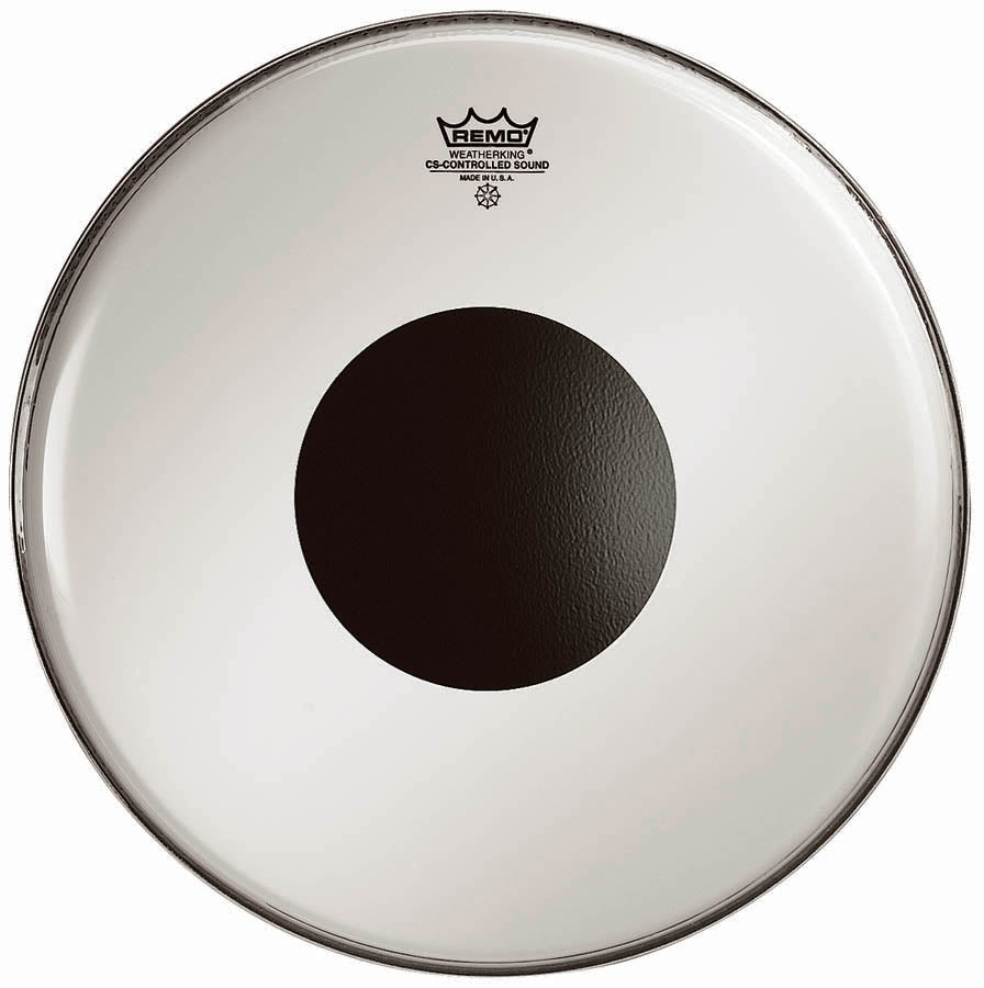 "Remo 14"" Smooth White Controlled Sound Drum Head With Black Dot"