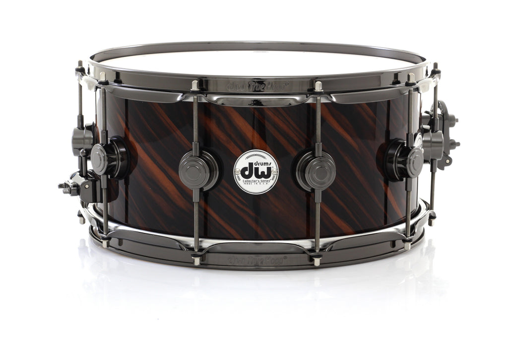 "DW 14"" x 6.5"" Collector's Exotic Snare Drum - Twisted Macassar Ebony With Black Nickel Hardware"