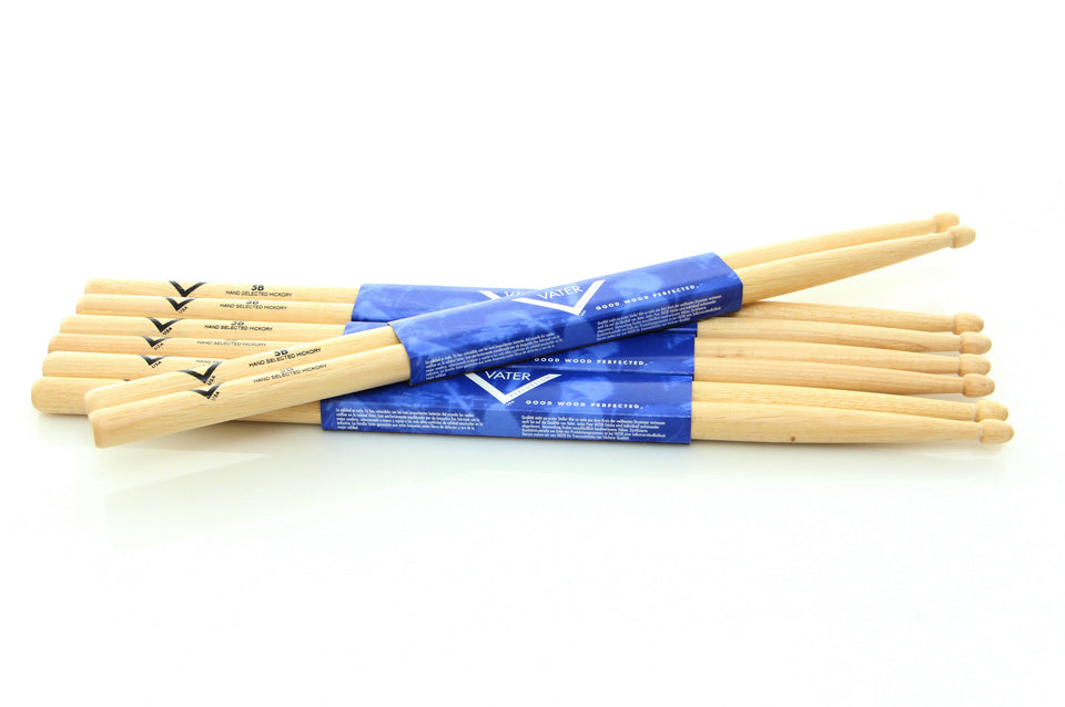 VATER 5B 3 Pair Wood Tip Drum Stick Pack With 1 Free Pair 5B