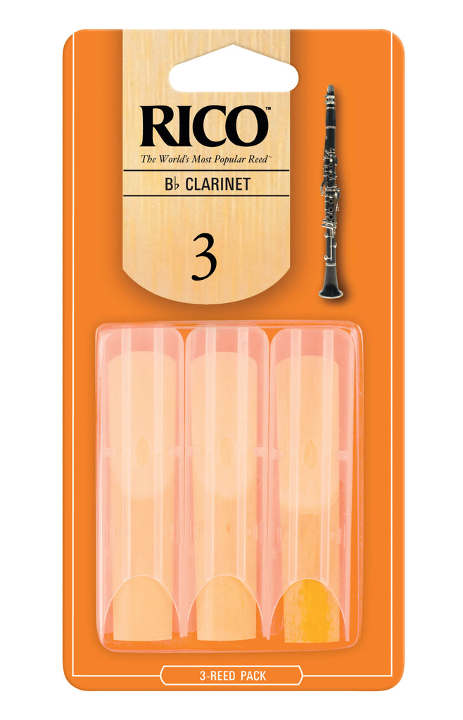 D'Addario Woodwinds RCA0330 Rico B-Flat Clarinet Reeds, Strength 3.0, 3-Pack