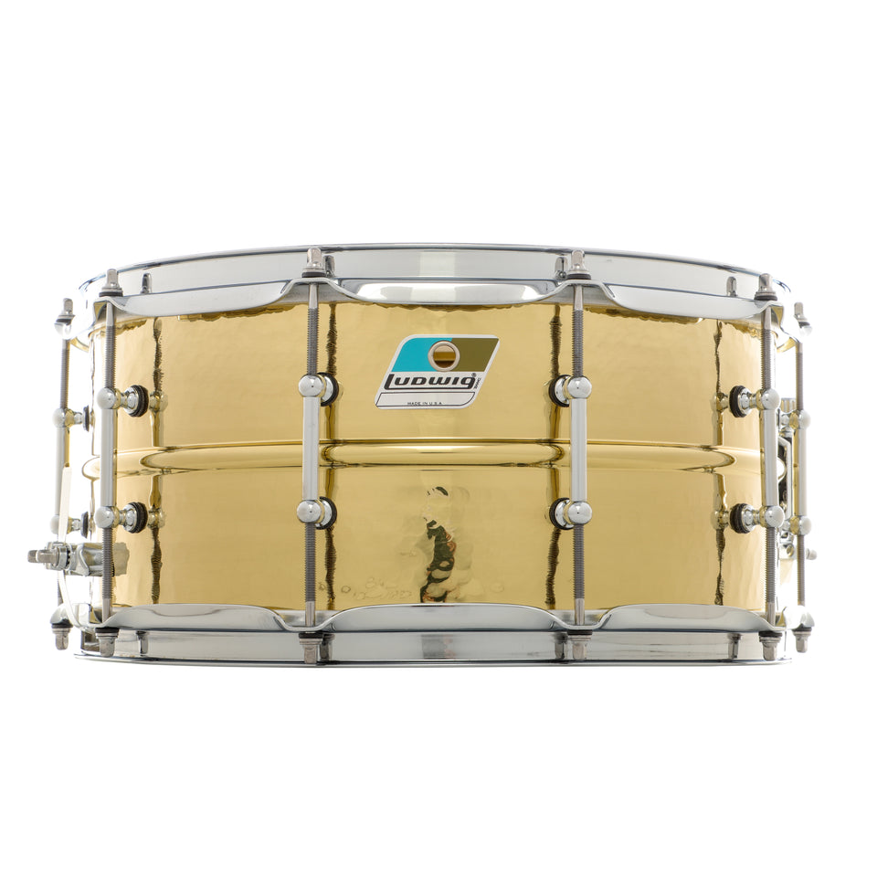 "Ludwig 14"" x 6.5"" Double Hammered Brass Snare Drum"