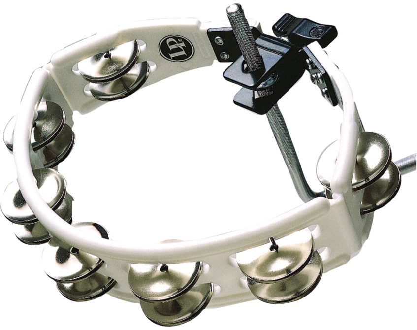 LP LP162 Cyclops Jingle Tambourine, Steel/White/Mountable