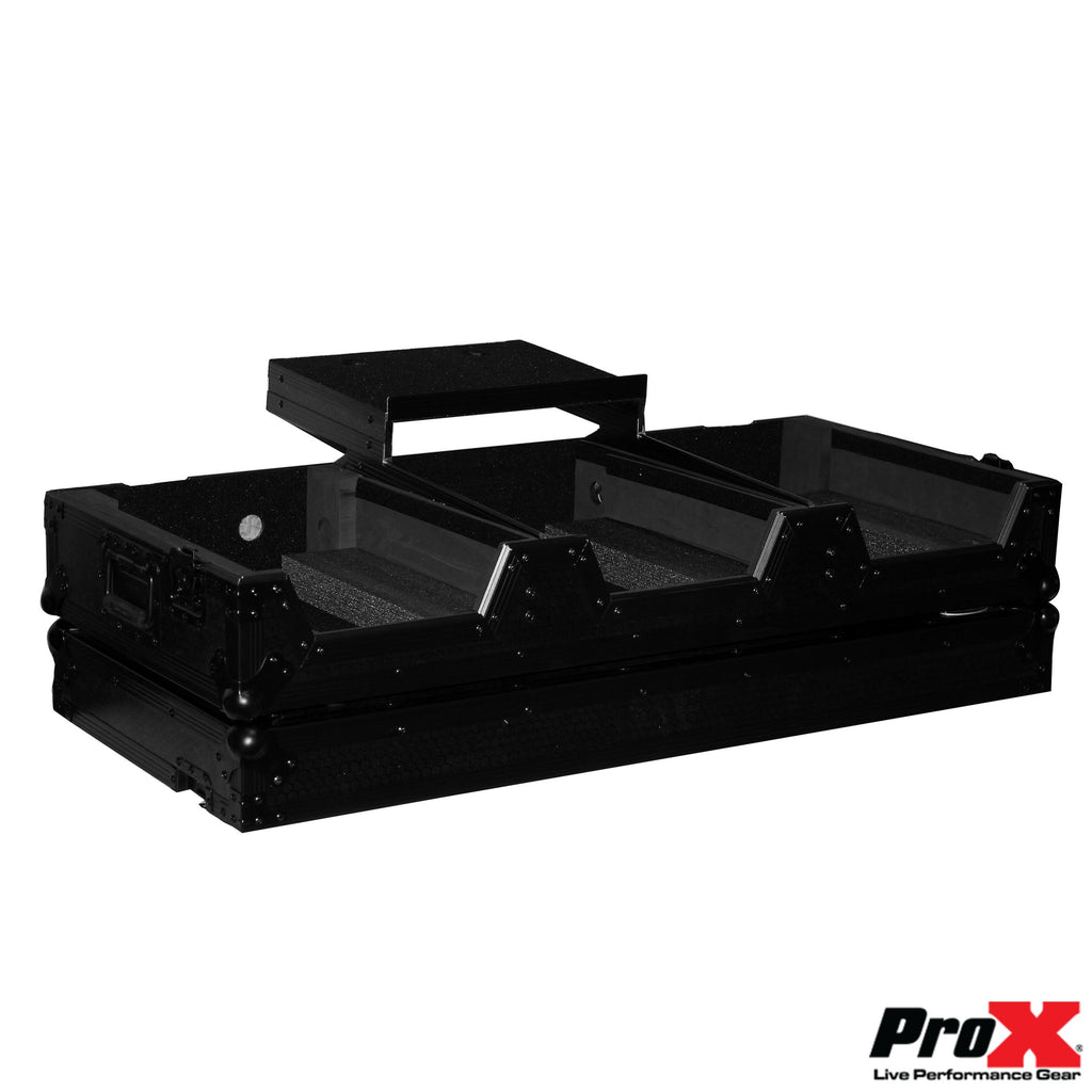 ProX XS-CDM2000WLTBL DJ Coffin Case for Pioneer Mixer DJM900 and 2X CDJ2000NXS2 W/Wheels & Laptop Shelf - Black on Black