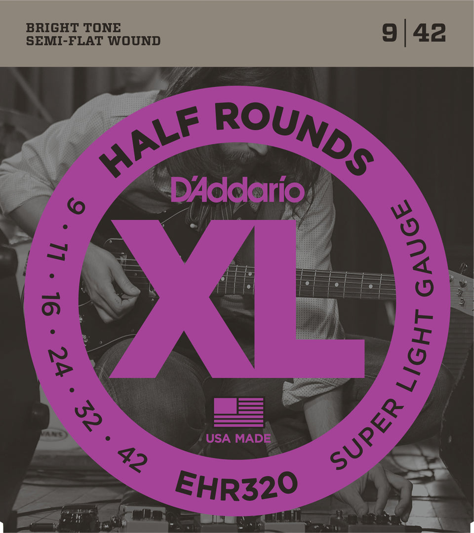 D'addario  EHR320 Half Round Electric Guitar Strings, Super Light, 15585