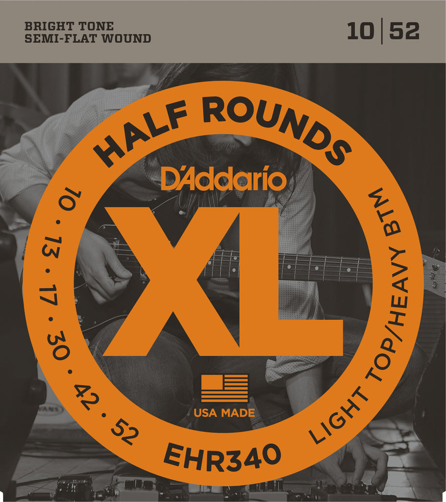 D'addario  EHR340 Half Round Electric Guitar Strings, Light Top/Heavy Bottom, 19268