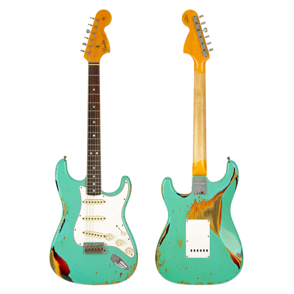 Fender Custom Shop Ltd '67 Stratocaster Heavy Relic - Aged Seafoam Green over 3-Color Sunburst