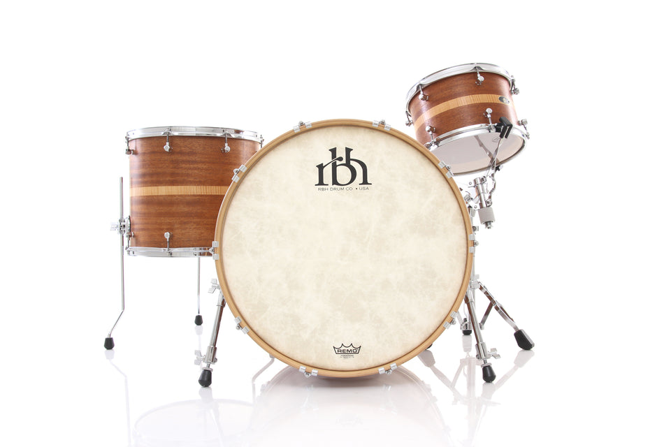 RBH Drums Monarch 3 Piece Drum Set Shell Pack - Natural Mahogany W/Curly Maple Inlay