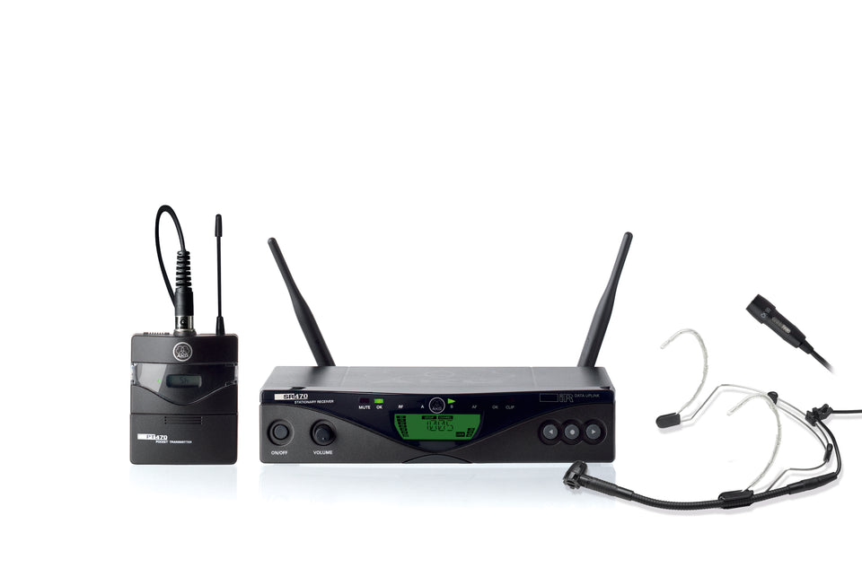 AKG WMS470 Presenter Set Wireless Lavalier And Headset Microphone System