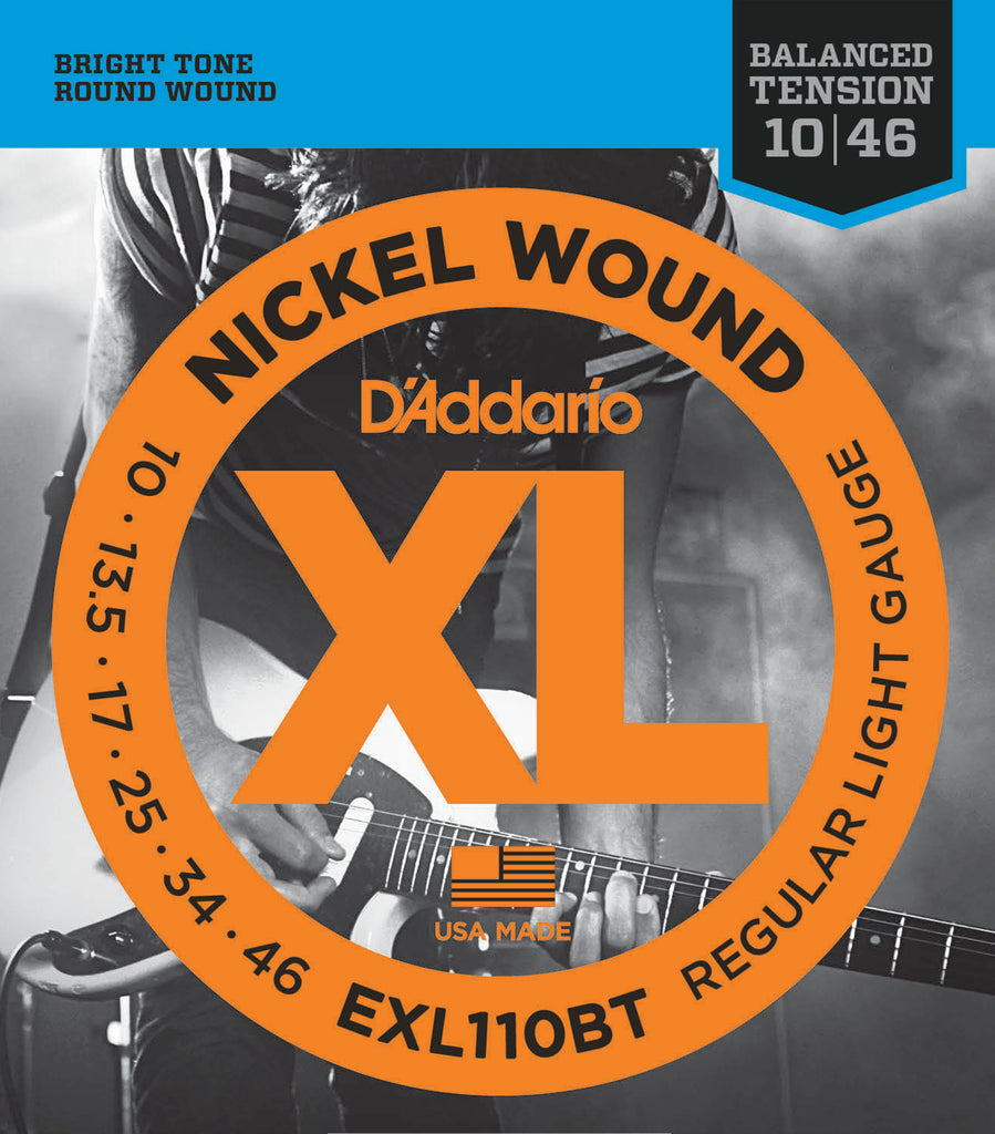 D'addario  EXL110BT Nickel Wound Electric Guitar Strings, Balanced Tension Regular Light, 17076