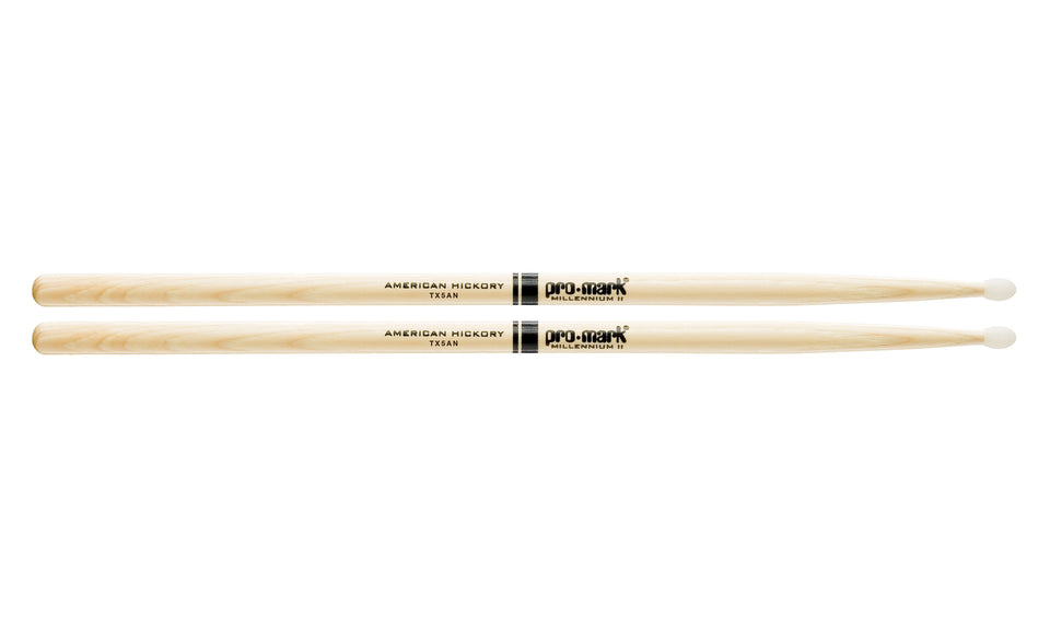 Promark TX5AN Hickory 5A Nylon Tip Drumsticks