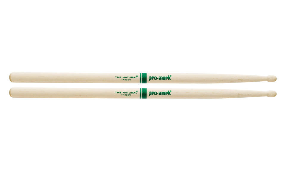 Promark TXR2BW Hickory 2B The Natural Wood Tip drumstick