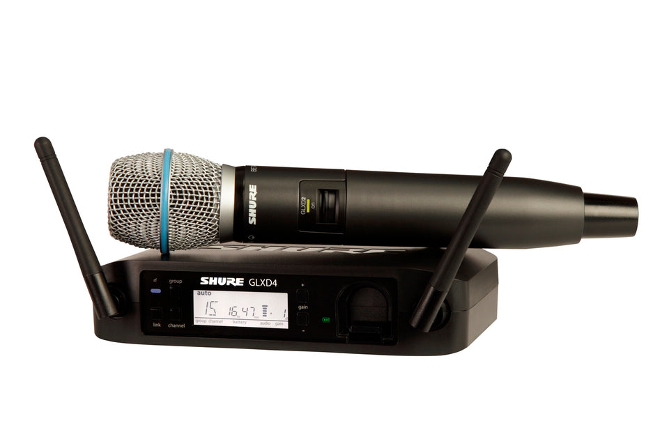 Shure GLXD24/Beta87A 2.4 GHz Handheld Wireless System W/ Beta 87A Condenser Microphone