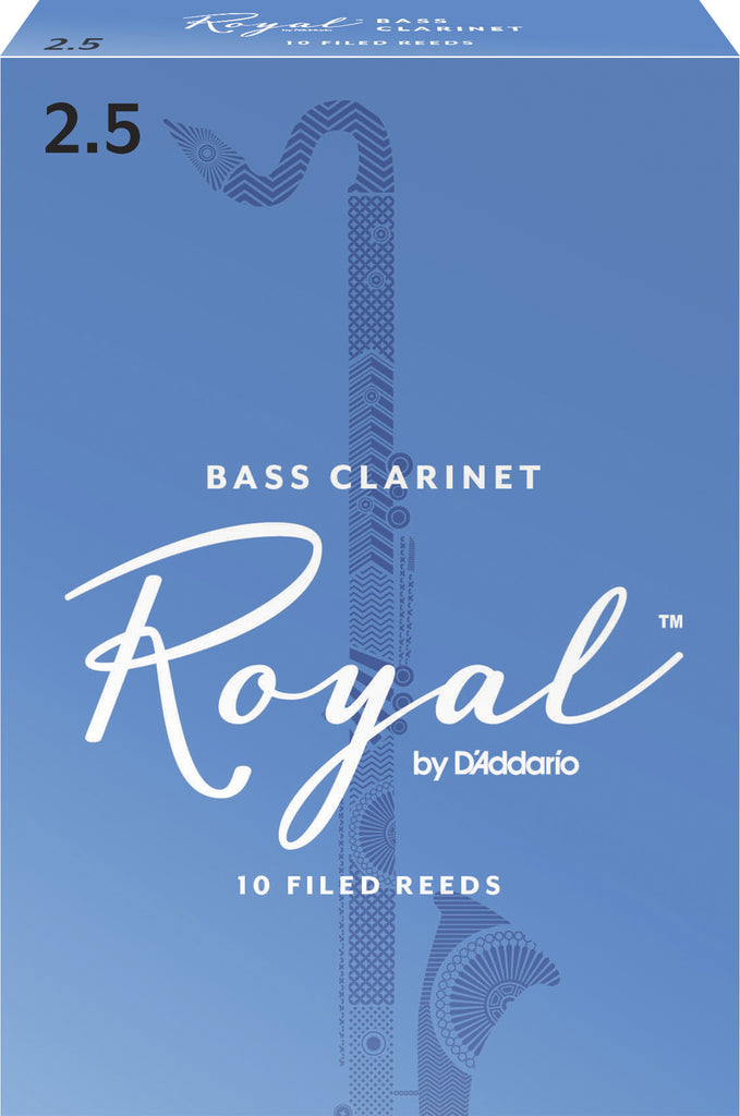 Rico Royal REB1025 Bass Clarinet Reeds, Strength 2.5, 10-Pack
