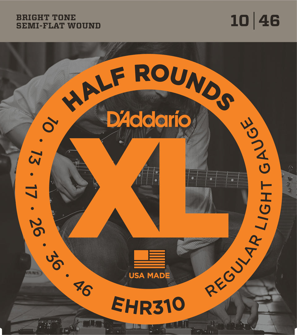D'addario  EHR310 Half Round Electric Guitar Strings, Regular Light, 17076